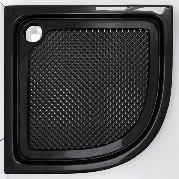 Receveur de douche Sogood Faro03BAR acrylique bac à douche anti-glisse plat noir en forme d'un quart 100x100x6cm