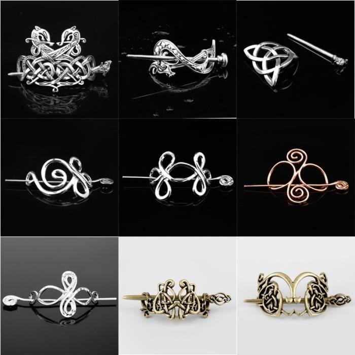 bandeau - serre-tête -Viking cheveux bijoux Celtics noeuds couronne épingles à cheveux Style...- Modèle: M retro silver -
