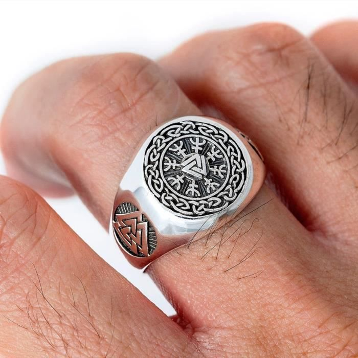 EYHIMD – bague Viking Valknut pour hommes, anneau en acier inoxydable Aegishjalmur Odin, R -10