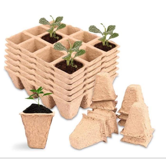 Pots Biodés, 20 Pièces Pot Jardinage en Set Fibres Biodégradables Pots, Récipient de Germination, Pépinière Dégradables Plantes