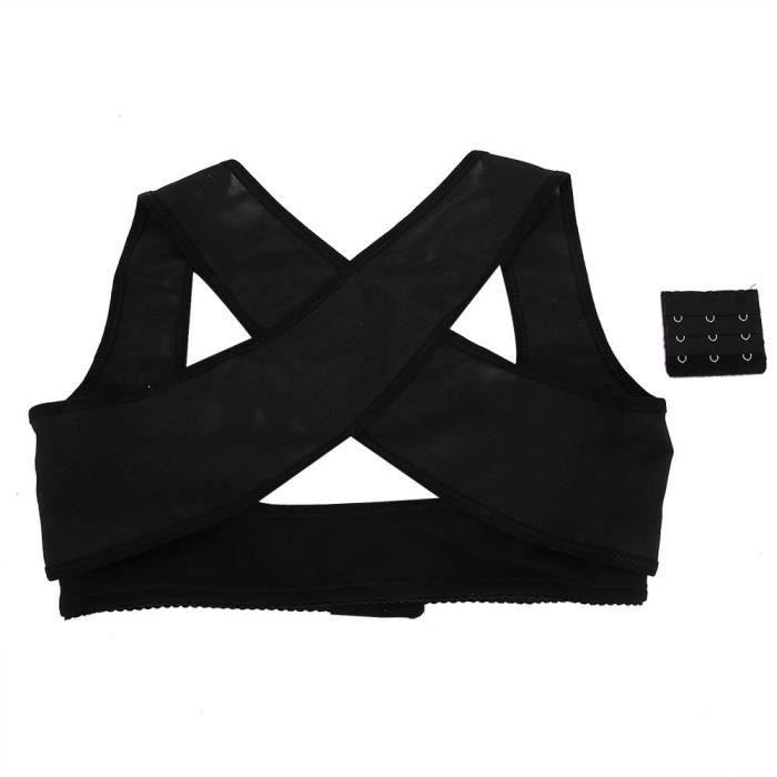 EBTOOLS Correcteur de dos Attelle arrière réglable Posture épaule dos bois de soutien ceinture orthèse dos correcteur(L Noir)