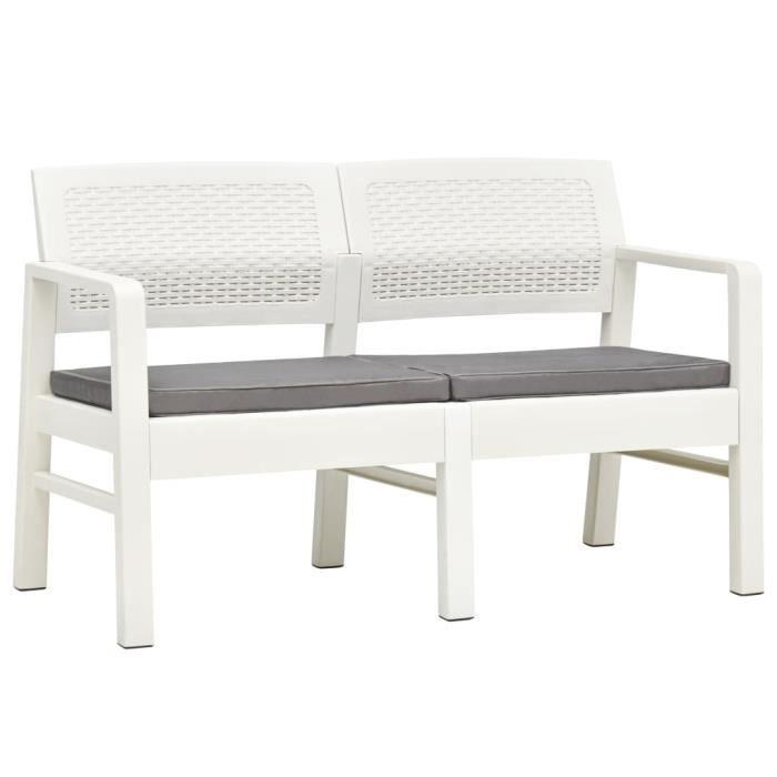 912184 Banc d'extérieur 2 places - Banquette de Jardin - et coussins 120 cm Plastique Blanc Meuble d'excellent