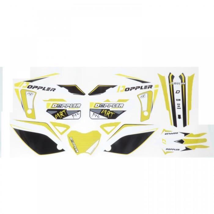 Kit déco Doppler jaune et noir moto Rieju 50 MRT autocollant stickers 19 pièces