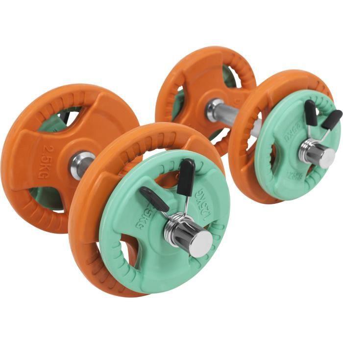 Gorilla Sports - 20kg total - kit d'haltères en caoutchouc grip avec 2 barres courtes de 35cm avec stop disques Gris