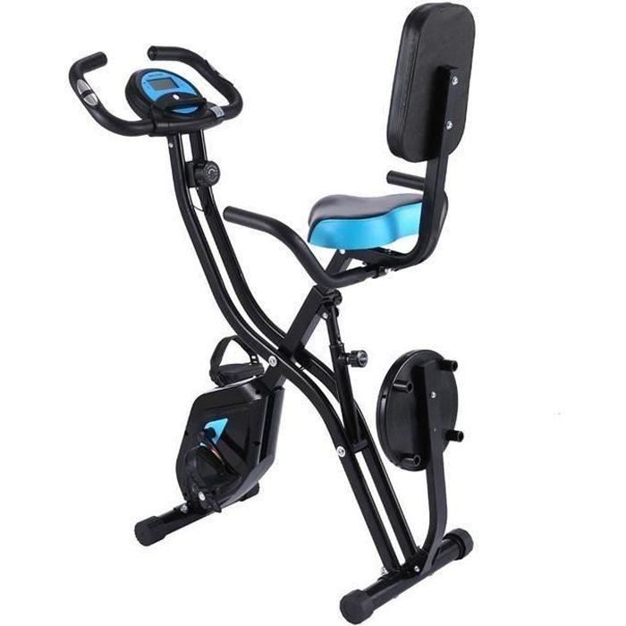 Vélo d'appartement Pliable X-Bike Vélo 3-en-1 10 Niveaux de Résistance Réglable Avec Moniteur LCD+Siège +Support pour Tablette+APP