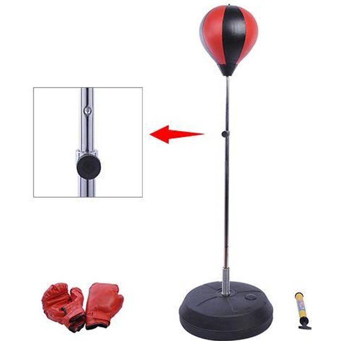 Sac de frappe punching ball avec gants et pompe hauteur reglable 141 à 161cm