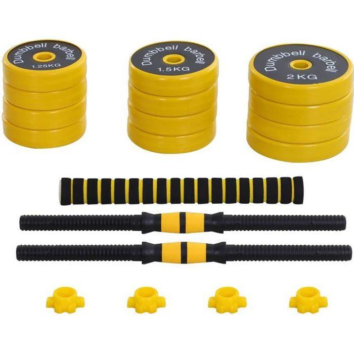Ensemble d'haltères courtes ou longues 20 Kg - barre d'extension incluse - musculation réglable - entraînement musculaire &