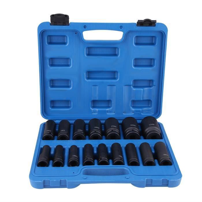 WEI Douilles à Choc Hexagonale, 16 Pièces 1-2 Pouce Jeu de Douilles à Impact 6 Pans Outil de Réparation Air Drive Kit 10MM-32MM
