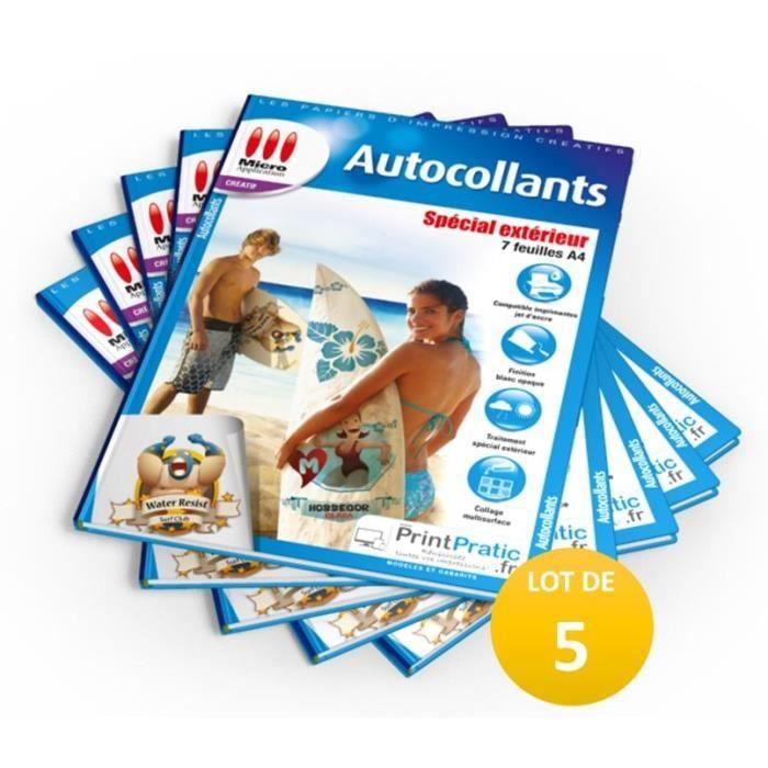 LOT DE 5 PACKS : 5X Autocollants Spécial Extérieur - 7 feuilles A4 blanches imperméables-7 feuilles A4 / 5x MA-5050 soit 35 feuilles