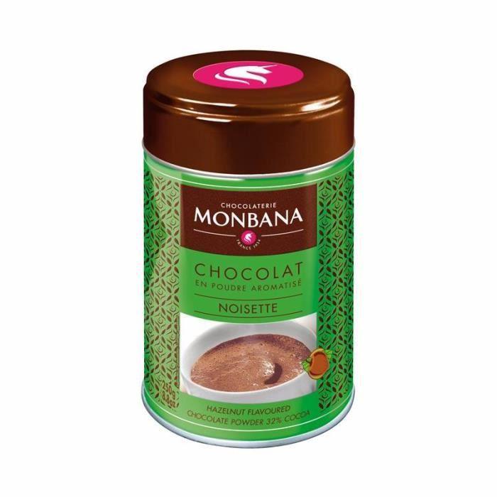Chocolat Monbana en poudre arôme Noisette - Boîte 250g