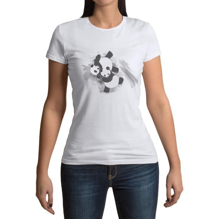 T-shirt Femme Col Rond Panda Judo Aquarelle Arts Martiaux Karate Mignon Enfant