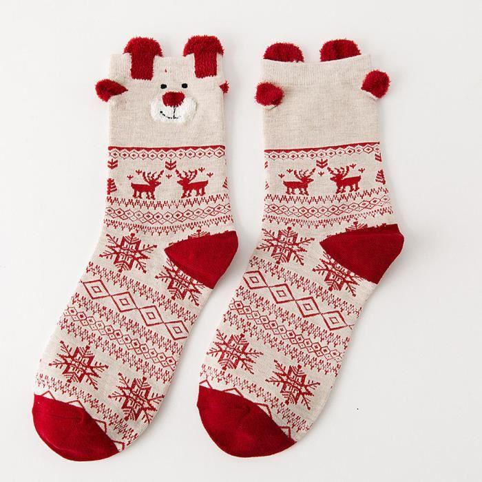 Chaussettes en coton pour femmes de Noël Chaussettes d'hiver pour femmes multicolores Chaussettes