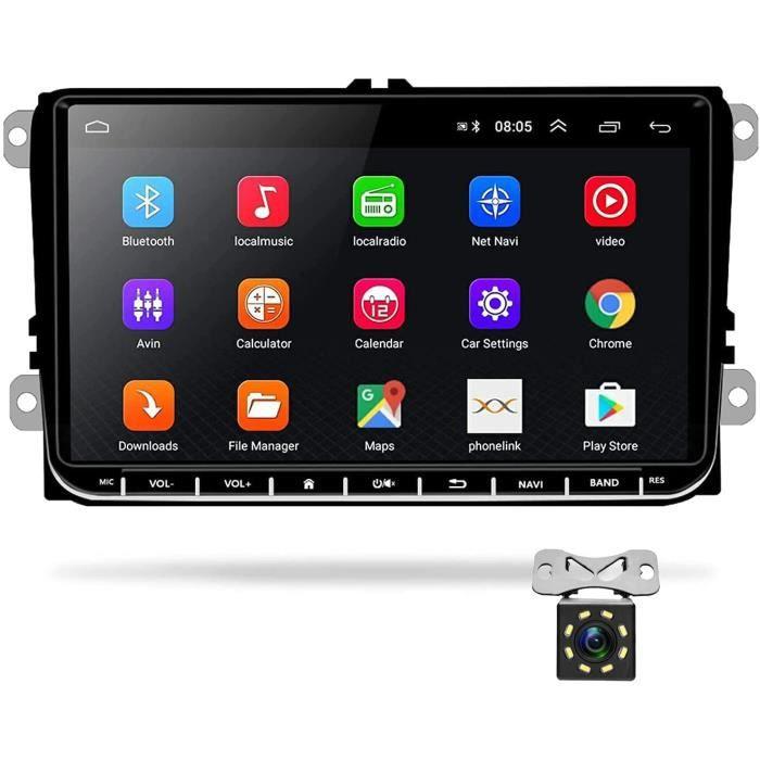Podofo Android Autoradio GPS pour VW Seat Passat Golf Skoda 9- Écran Tactile Bluetooth Lecteur Multimédia de Voiture de Navigation S