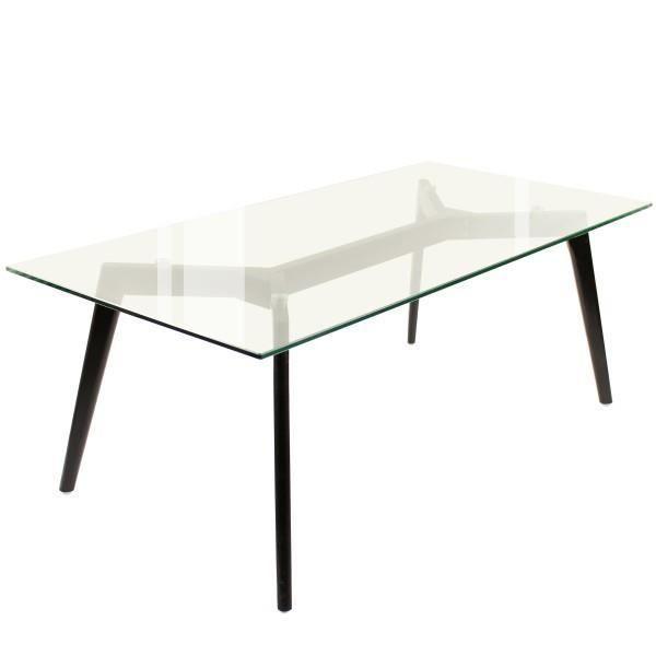 Table basse, 120 x 60 cm, plateau verre, pieds chêne noir Verre