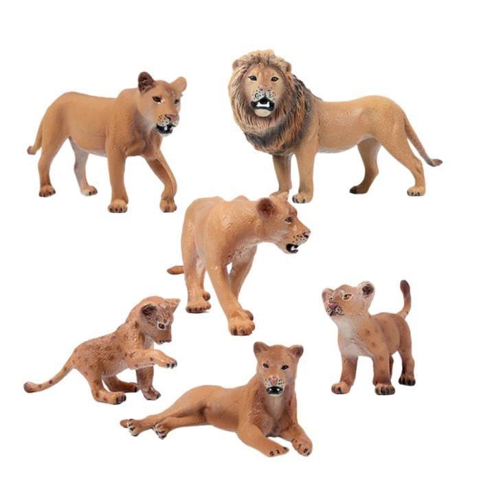 1 ensemble de 6 pièces modèle de famille de lion simulé jouets délicate faune figure animale en plastique de africain jouet haute