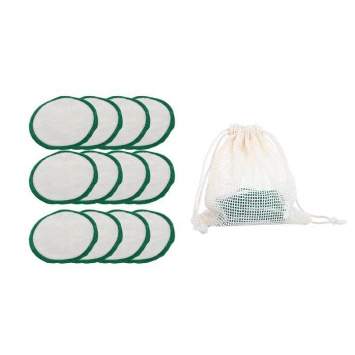 12 pièces tampons de maquillage Durable lavable confortable cosmétique écologique tapis de de en coton facial avec sac en maille