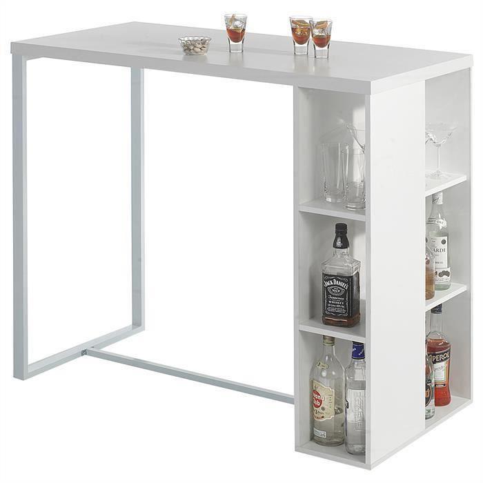 SoBuy® FWT39-W Table Haute de Bar Mange-debout Cuisine avec 3 étagères de rangements – Blanc