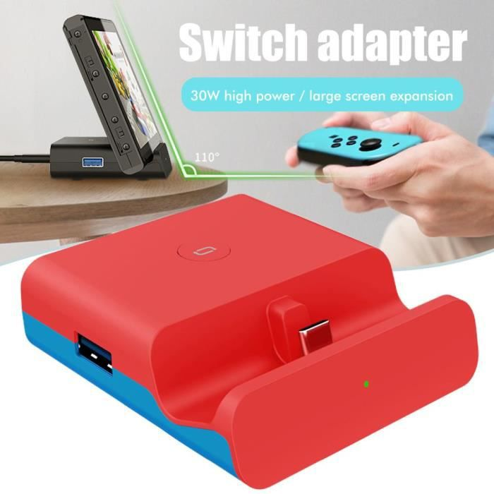 Support de charge station de charge pour Switch TV Convertisseur Adaptateur Support Type-C Chargeur Support Rouge