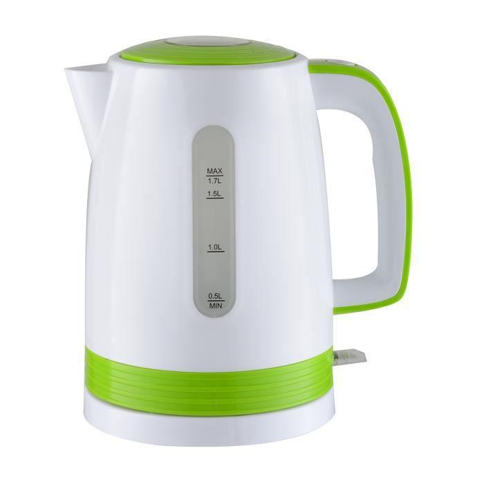 Bouilloire électrique blanche-vert 2200W - capacité 1.7L