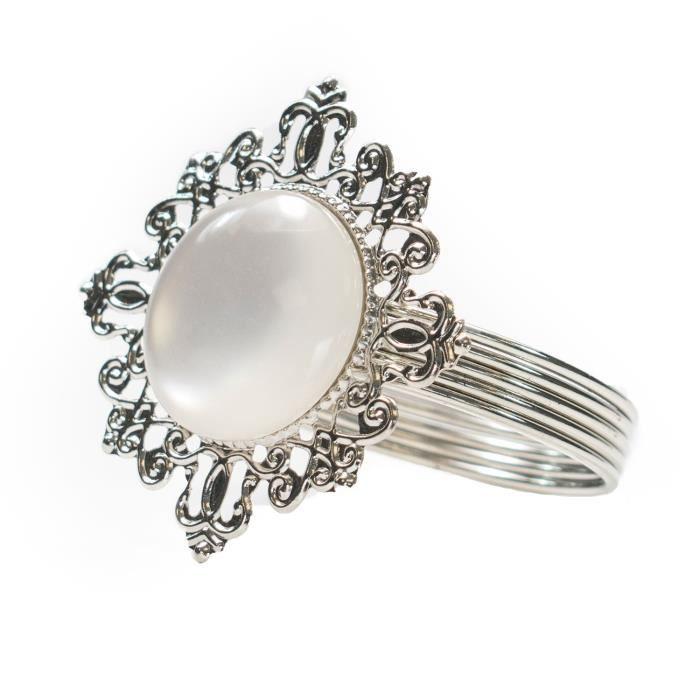 Anneaux de serviettes de TRIXES avec centre de perles - Supports de motifs antiques de couleur argent - Jeu de 4 - Parfait pour le