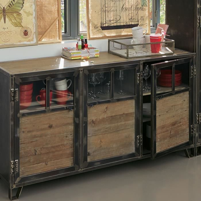 ware buffet 3 portes en pin acier et verre achat vente buffet bahut ware buffet 3 portes. Black Bedroom Furniture Sets. Home Design Ideas