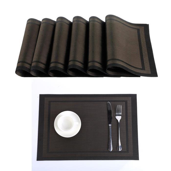 SET DE TABLE Lot de 6 Sets de Table en Vinyle Tissé PVC Antidér