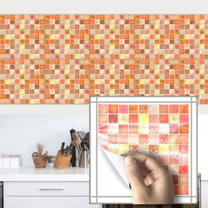 Orange mosaïque rétro tuiles autocollants cuisine salle de ...