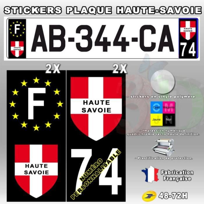 stickers plaque d 39 immatriculation 39 haute savoie 39 auto moto fond noir 110x45 mm achat vente. Black Bedroom Furniture Sets. Home Design Ideas