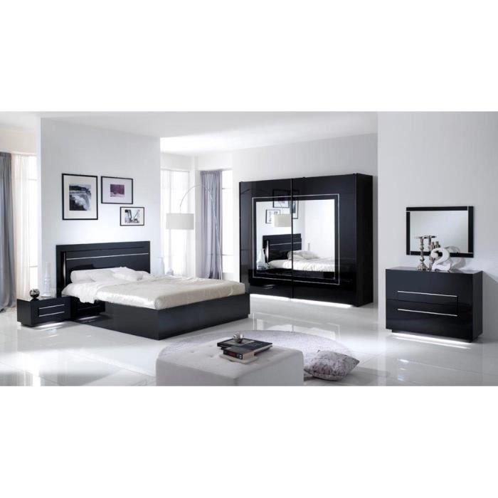 Chambre A Coucher Modele City Laquee Noire Avec Armoire 2 Portes