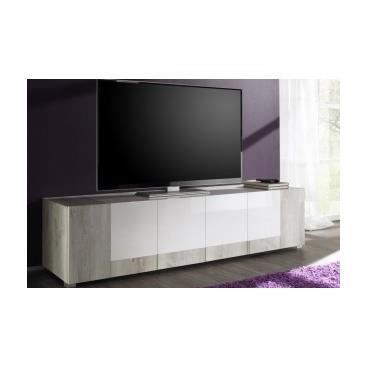 meuble tv contemporain blanc laqu et bois verecondo achat vente meuble tv meuble tv. Black Bedroom Furniture Sets. Home Design Ideas