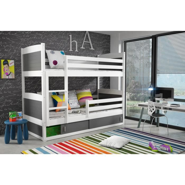 Lit superpos rico en pin 185x80 blanc achat vente lits superpos s so - Lit superpose en pin ...