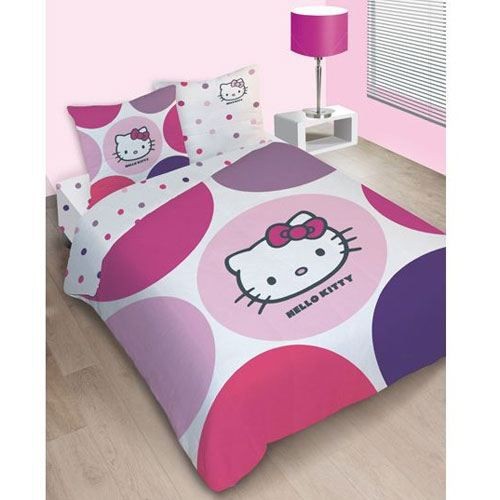 parure de lit hello kitty prune 200 x 200 achat vente parure de couette cdiscount. Black Bedroom Furniture Sets. Home Design Ideas
