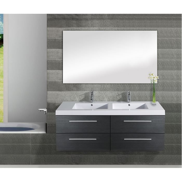 Meuble double vasque saturn 140cm gris achat vente for Meuble lavabo double vasque