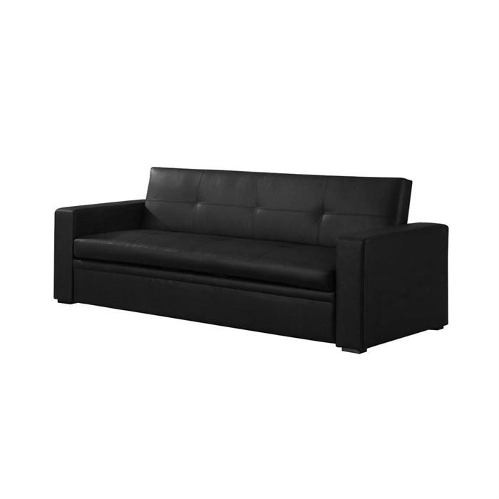 Canap lit convertible 3 places cuir noir smella achat for Canape lit cuir 3 places