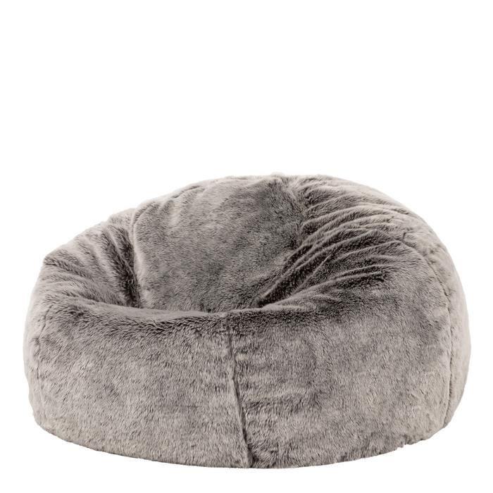 Chaise Pouf De Luxe Grande Taille En Fausse Fourrure Douce Loup Arctique Gris Achat Vente Pouf Poire Cdiscount
