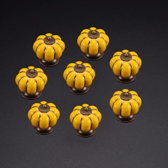 Commode Boutons 8 Pack vintage citrouille Bouton en Céramique Tiroir Armoire Placard Boutons