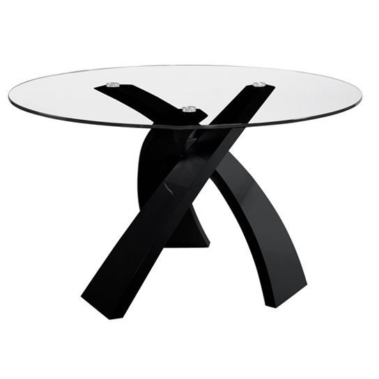 Table en verre ronde castle noir table ronde achat for Table ronde design 6 personnes