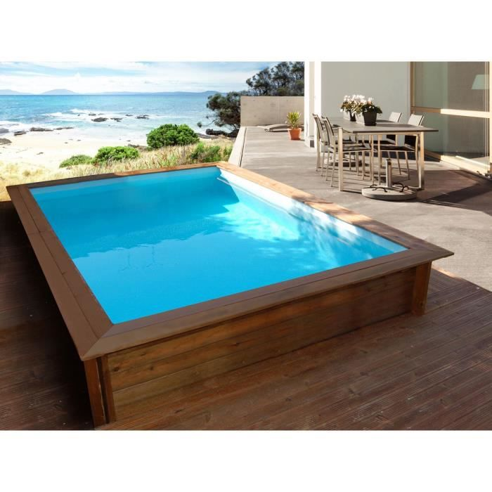 Piscine bois rectangle toledo x x m for Piscine jardin rectangle