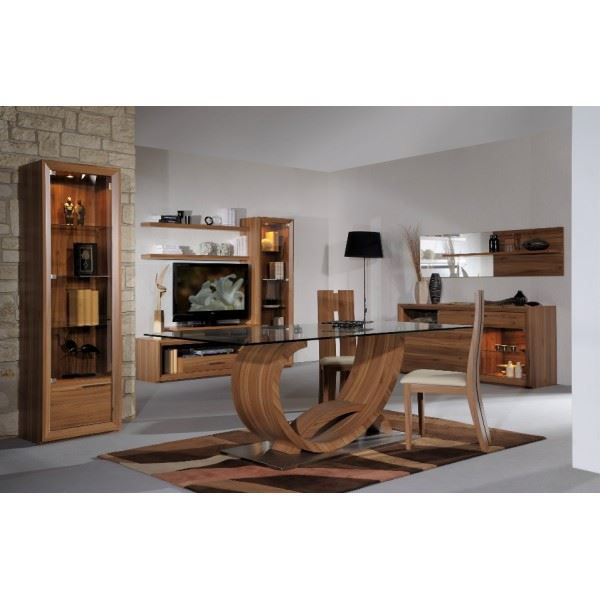 salle manger compl te eleonore coloris noyer achat vente salle manger salle manger. Black Bedroom Furniture Sets. Home Design Ideas