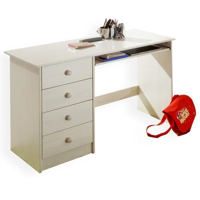 bureau enfant 4 tiroirs lasur blanc achat vente bureau bureau enfant 4 tiroirs las. Black Bedroom Furniture Sets. Home Design Ideas