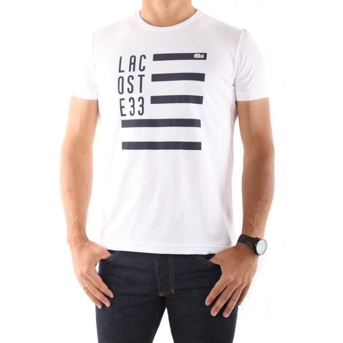 t shirt lacoste homme blanc blanc achat vente t shirt. Black Bedroom Furniture Sets. Home Design Ideas