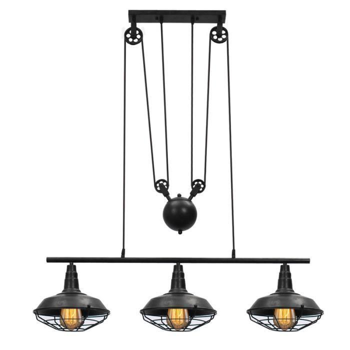 Plafonnier Suspension Industriel Rétro Vintage Lampe Poulie Abat-jour Pendentif