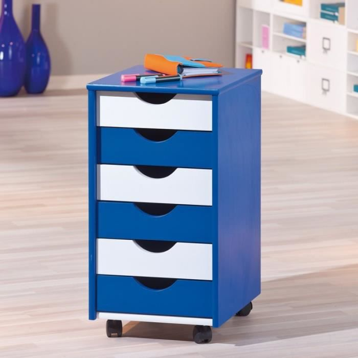 paris prix caisson de bureau 6 tiroirs school bleu blanc achat vente caisson de bureau. Black Bedroom Furniture Sets. Home Design Ideas