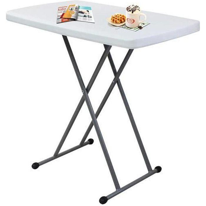 Table Compacte et Pliable, Table Pliante Ajustable, 76 x 50 x 51/63/74 cm,  Blanc, Matériau: Acier, HDPE