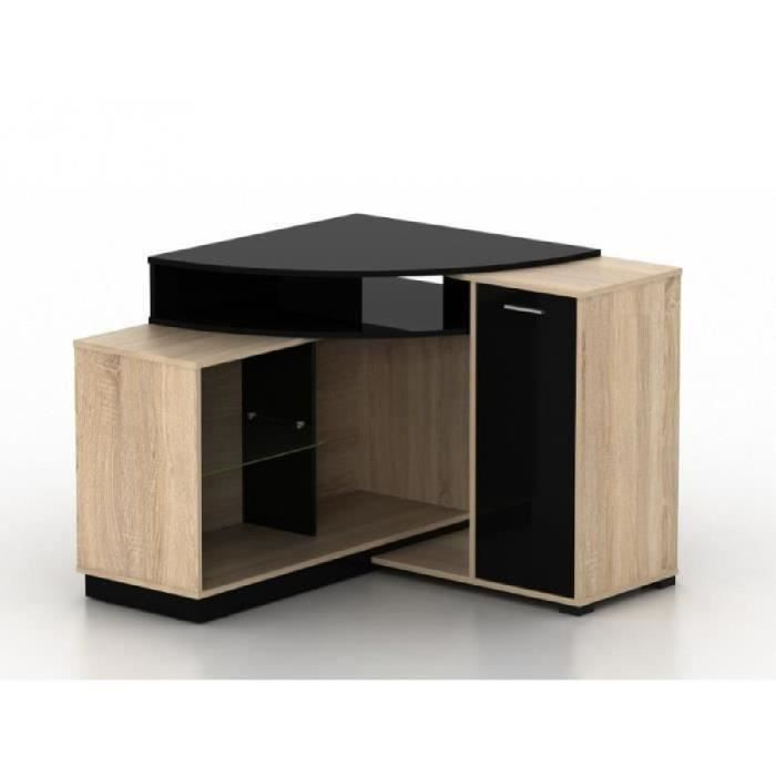 meuble tv d 39 angle amael avec rangements coloris ch ne noir achat vente meuble tv meuble. Black Bedroom Furniture Sets. Home Design Ideas