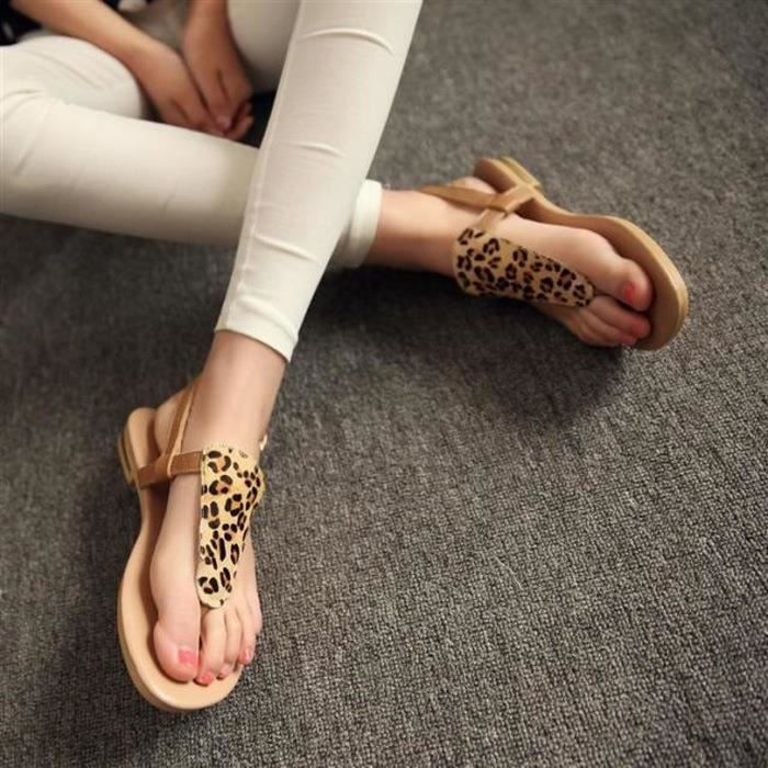 @GLAM Spring and Summer Fashion Chaussures Femme avec Flat Leopard Toe Sandales Femme 7fYI4WJwW