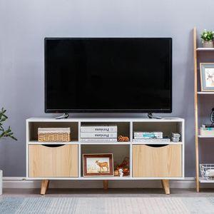 MEUBLE TV MEUBLE TV BLANC, DÉCOR CHÊNE MAT + PIEDS EN BOIS M
