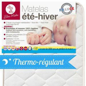 MATELAS BÉBÉ LILOU MIAKA - Matelas bébé 25kg/m3 face été hiver
