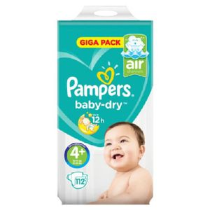 COUCHE PAMPERS Baby dry Couches bébé T4+ x112
