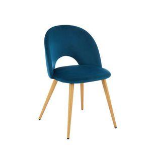 CHAISE Chaise coloris bleue vintage en velours et métal -